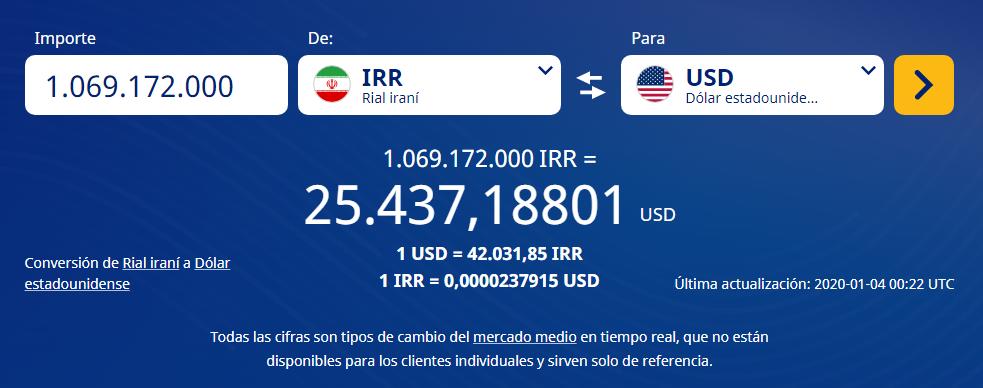 Conversión de riales iraníes a dólares estadounidenses. Fuente xe.com