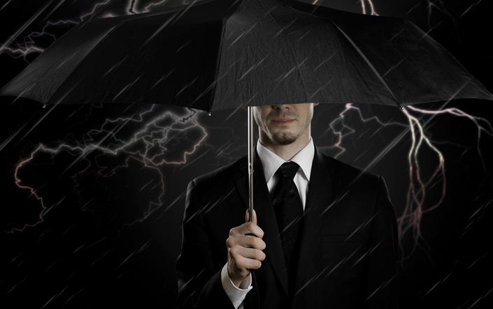 Parapluie couvrant la bourse