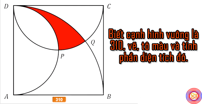 Vẽ và tính diện tích phần màu đỏ