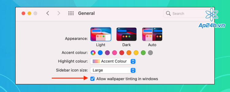 Bật chế độ màu nền trong suốt trên MacBook
