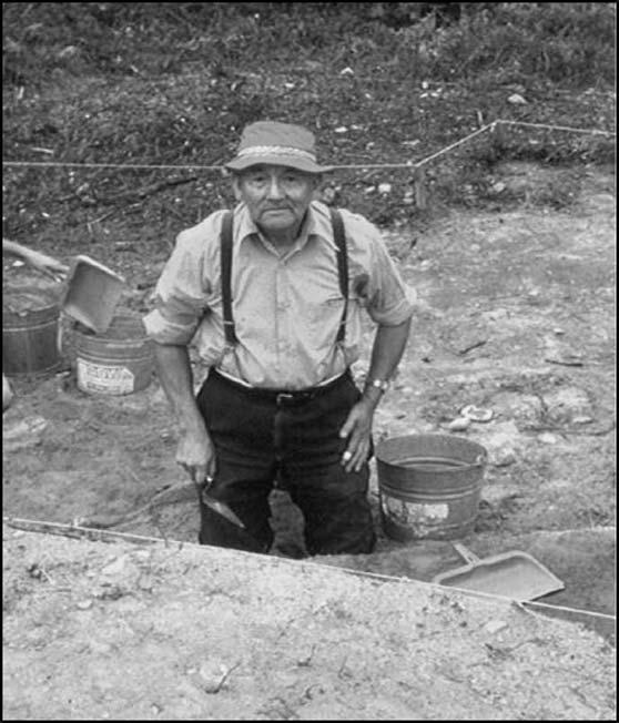 Mi'kmaq Elder Joseph M. Augustine excavating at the site in 1975.