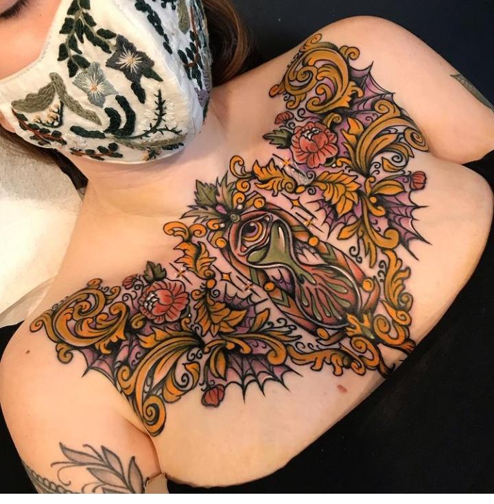 Chest Filigree Tattoos