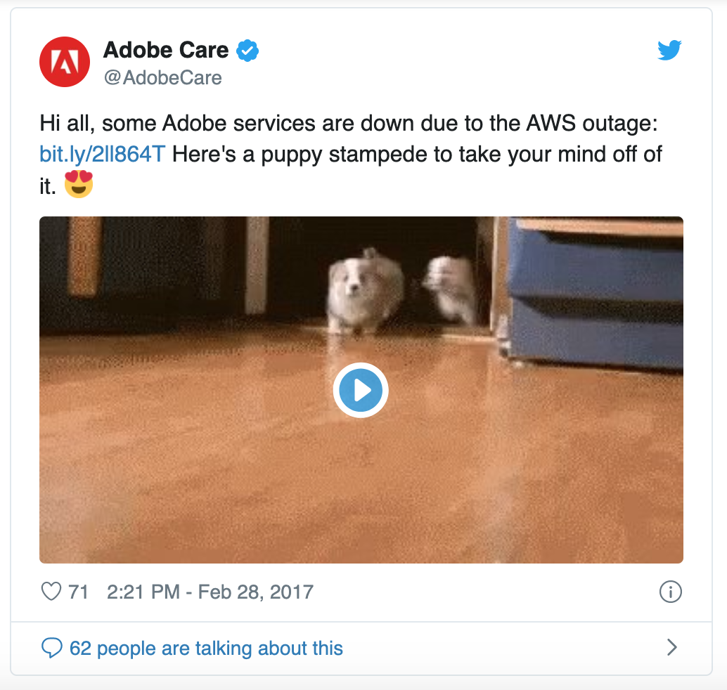 Adobe customer service outage notification on Twitter with cute puppy gif