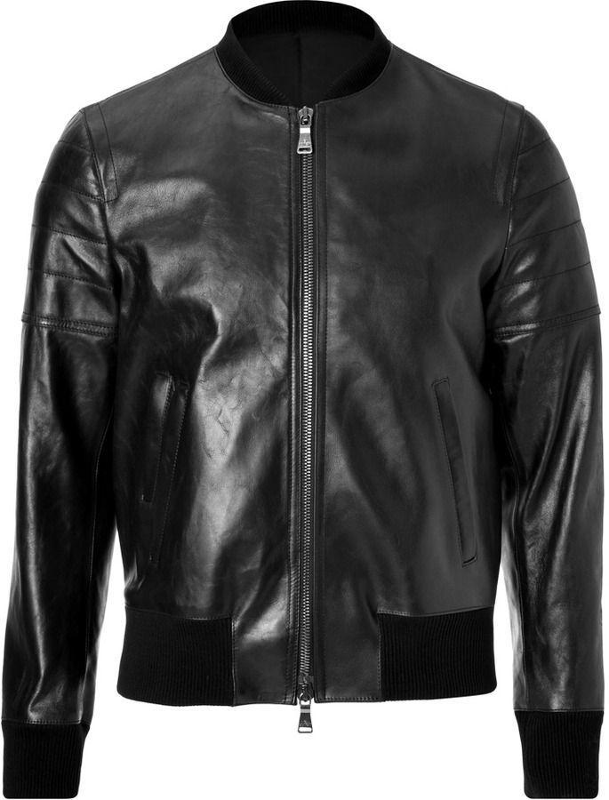 $2,725, Neil Barrett Leather Bomber Jacket | Black leather bomber jacket,  Leather bomber jacket, Leather jacket men