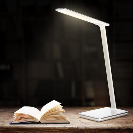 New LED Desk Lamp - Folding 4 Light Color Temperature With Wireless Desktop Charger USB Output Bottom Foam