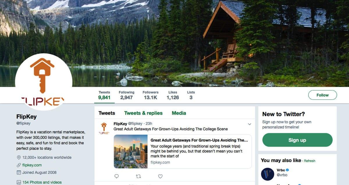 Exemplo de marketing de conteúdo: Conta oficial do FlipKey no Twitter