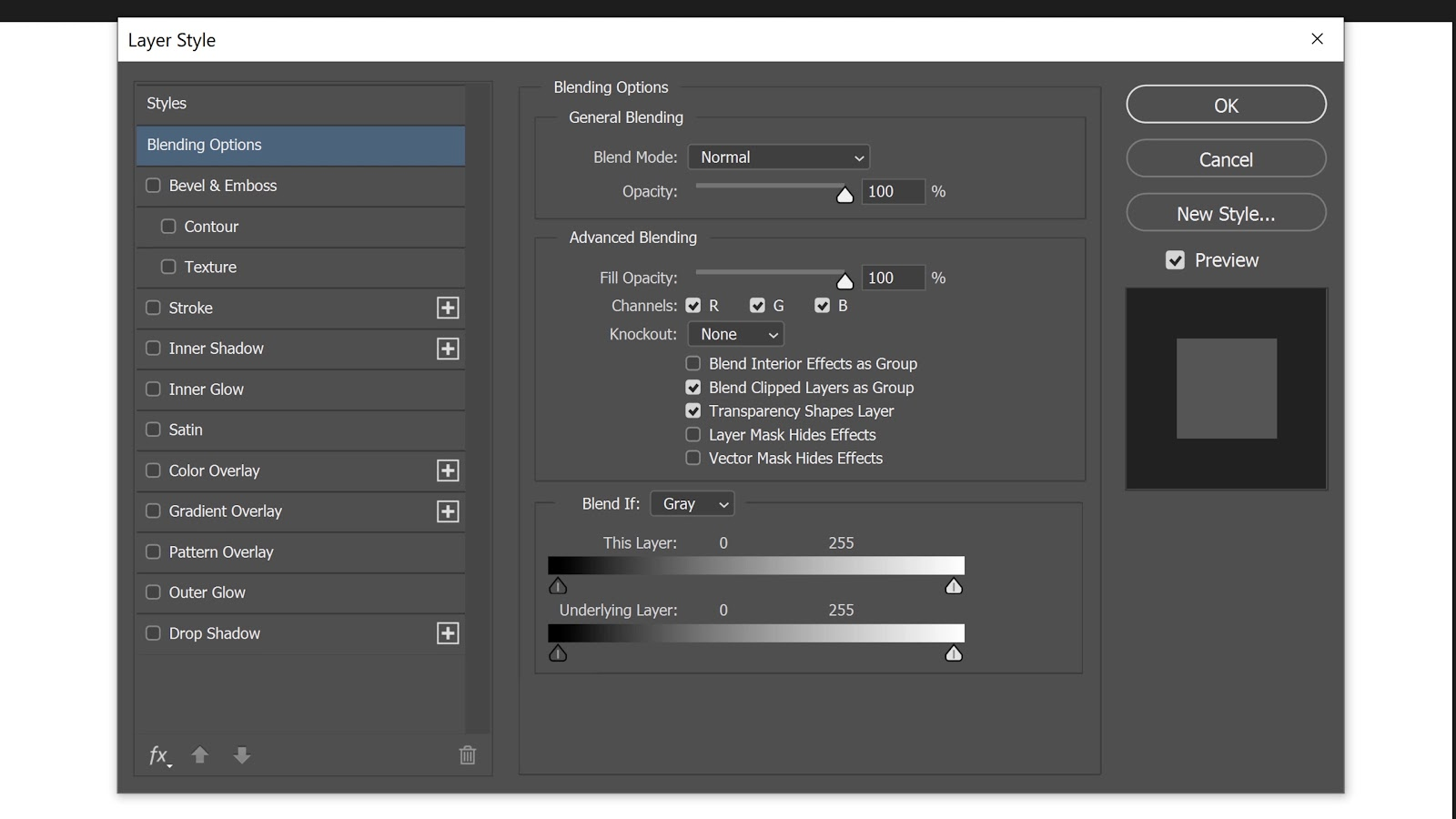 Double-click on the side of the layer to bring up the Layer Style window