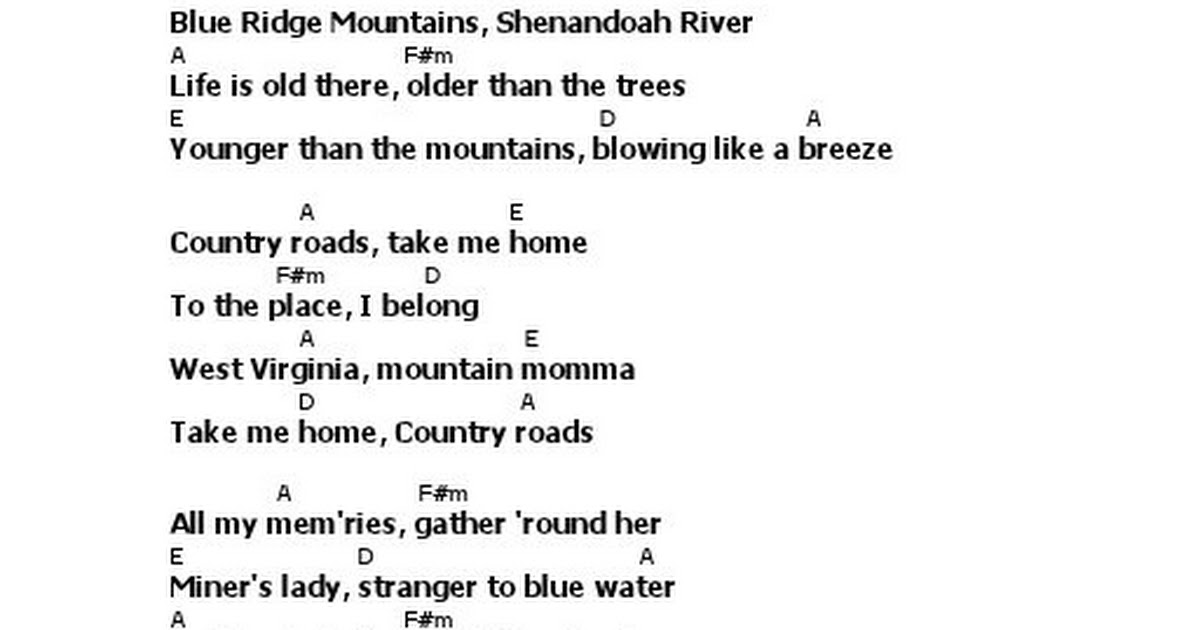 Lyric & Chord - Take Me Home, Country Roads - John Denver.pdf ...