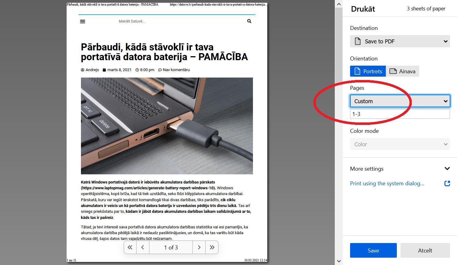 PDF failu veidošana no tīmekļa dokumenta