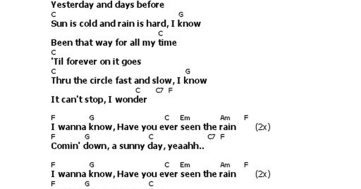 Lirik Creedence Clearwater Revival Have You Ever Seen The Rain ...