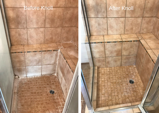 Before and after Hammond Knoll cleaned bathroom shower tile