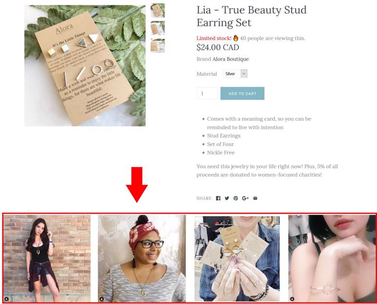 example of social proof with buyers using the product.