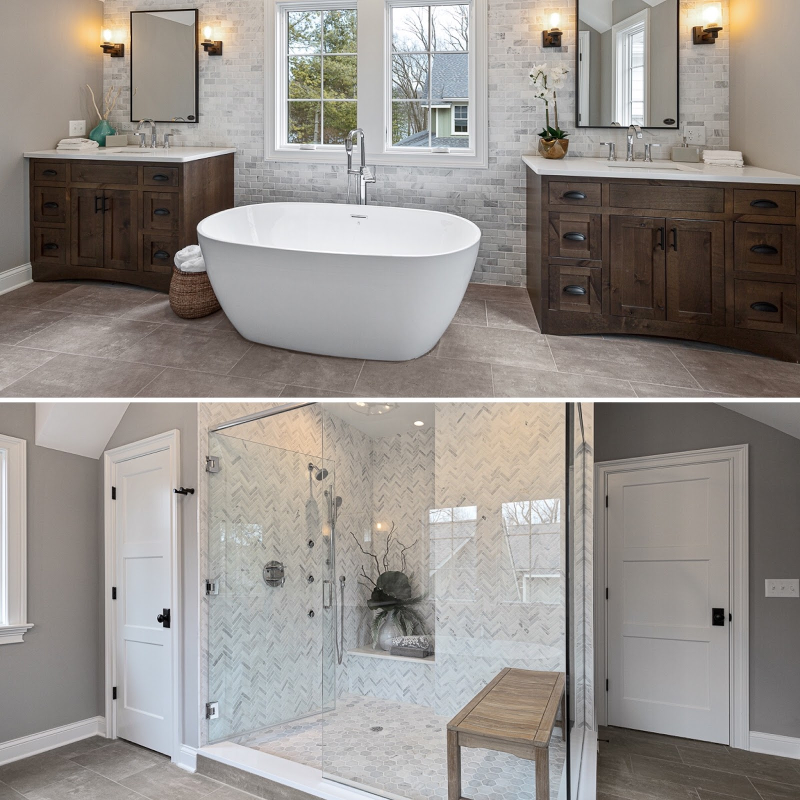 Dual photo of tub or shower in HDC bathroom