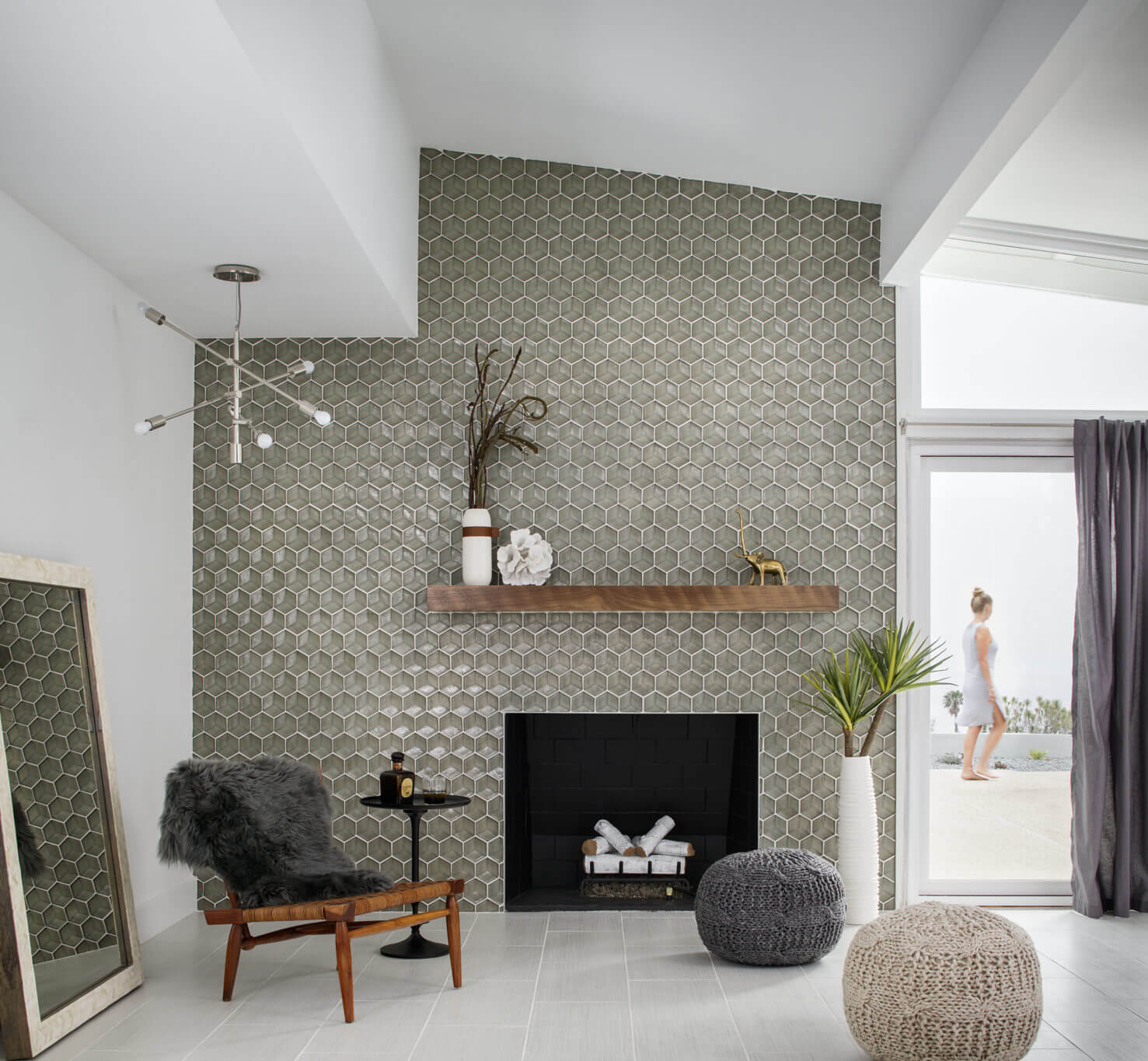 Greige hexagon tile fireplace surround