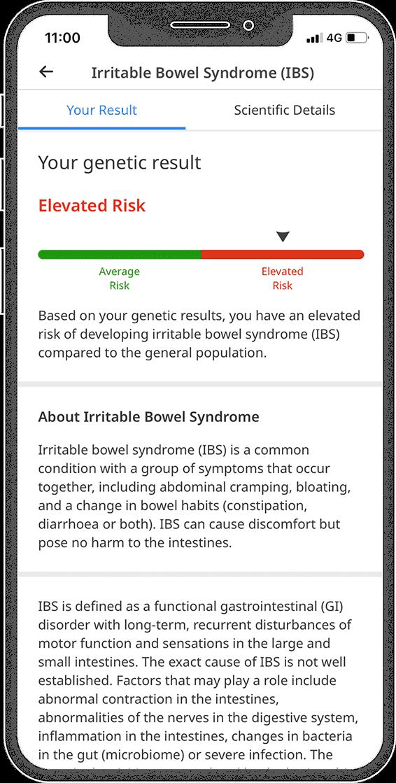 Recurso de relatório de CircleDNA de risco de doença para síndrome do intestino irritável (SII)
