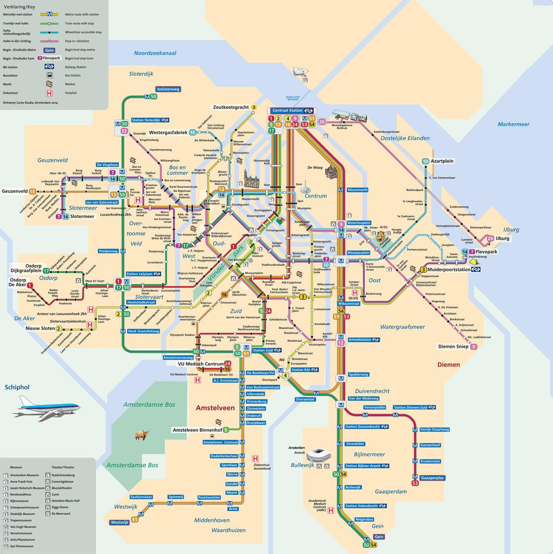 Plan De La Ville D Amsterdam Lieux A Visiter Transports En Commun