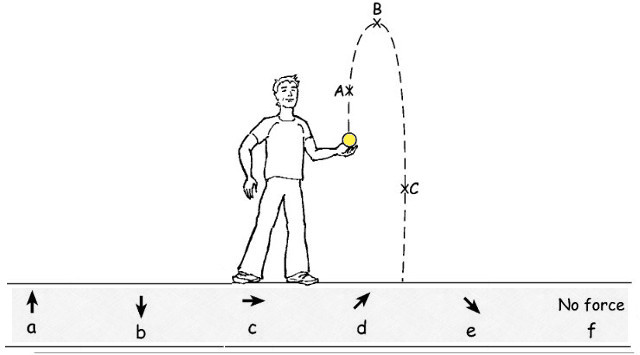 Q6. Reminder: FORCE is a Push or a pull. Sam throws a ball into the air. As it travels through the air, which arrow (a, b, c, d, e, f ) shows the DIRECTION OF FORCE ON THE BALL as it passes point A, point B and point C (as shown on the dotted line):
