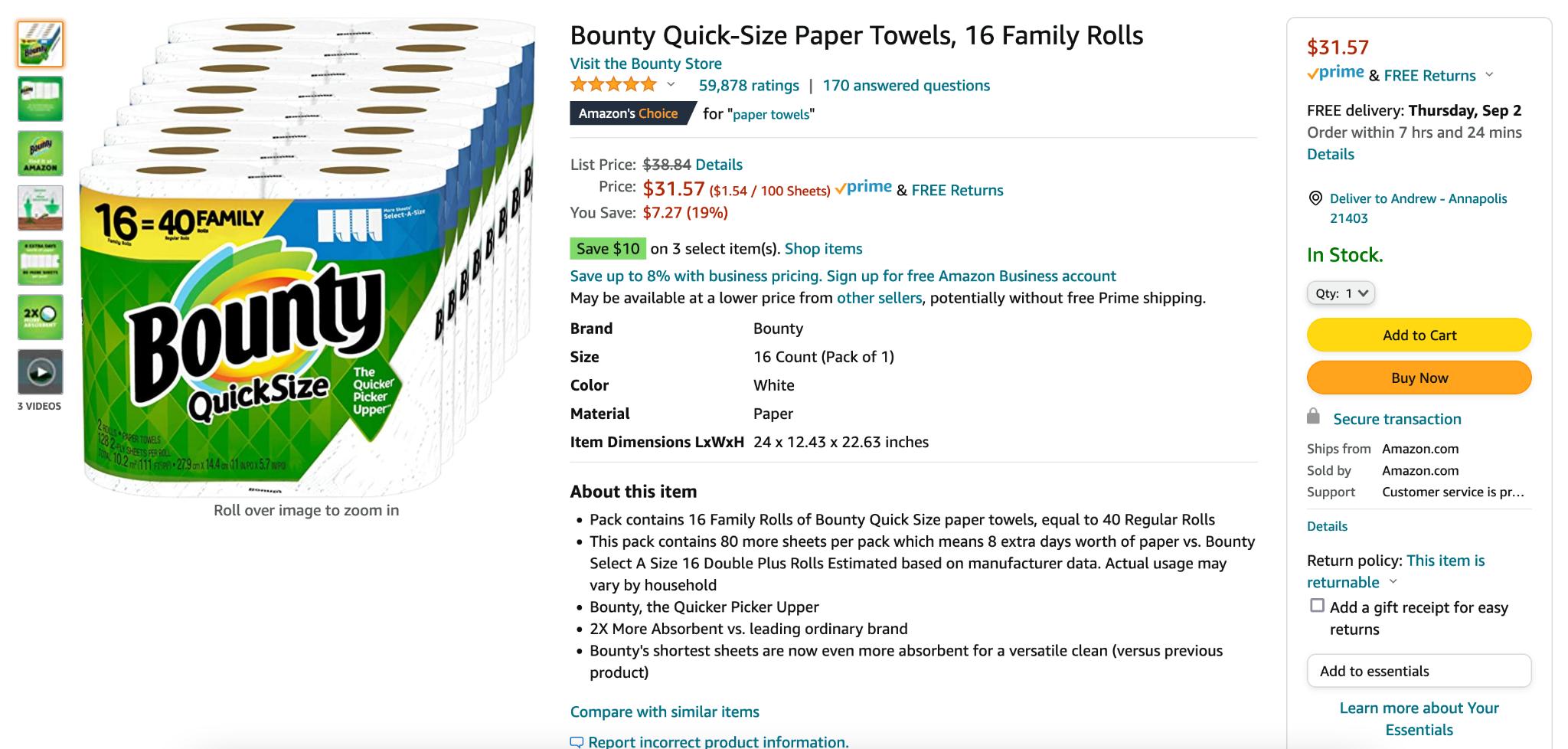 Bounty bundle discounts