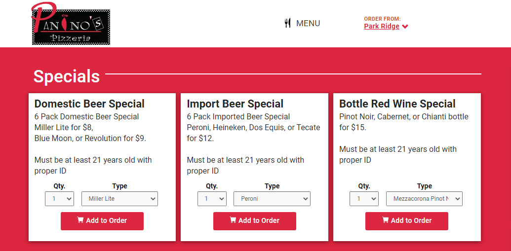 Feature cards with a list of alcohol