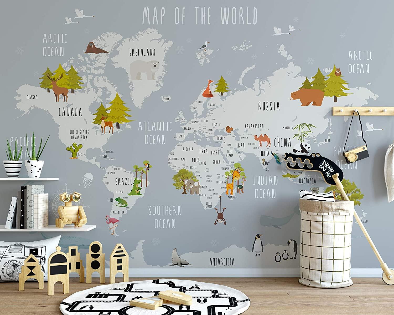 Wallpaper bergambar peta untuk kamar tidur anak - source: amazon.com