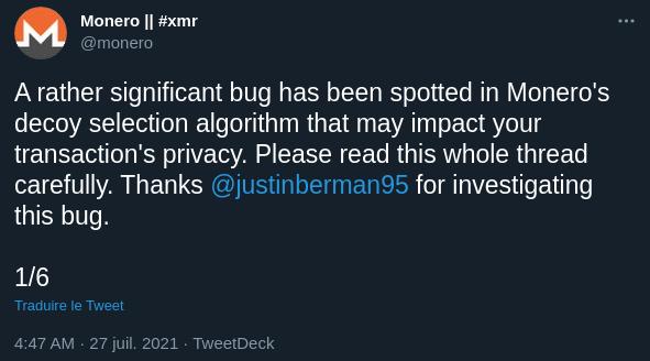 Publication Twitter de Monero annonçant la découverte d'un bug dans le decoy algorithm