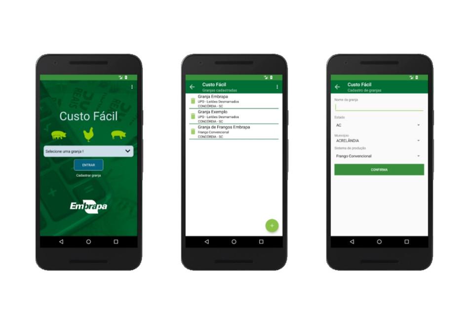 App Custo Fácil permite a gestão de produção de frangos e suínos. (Fonte: Embrapa/Reprodução)aplicativo custo fácil