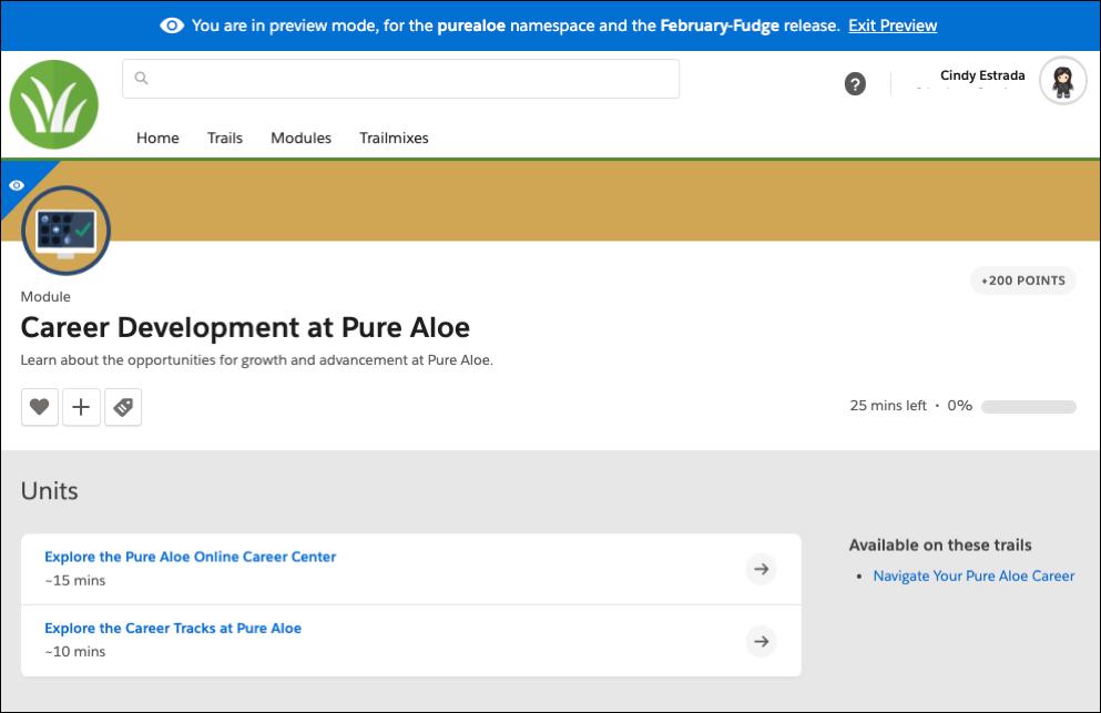 Módulo Desenvolvimento de carreira na Pure Aloe em modo de visualização