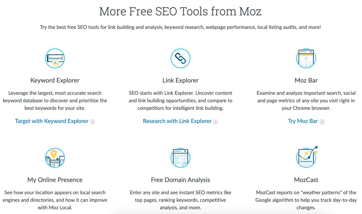 moz free SEO tools