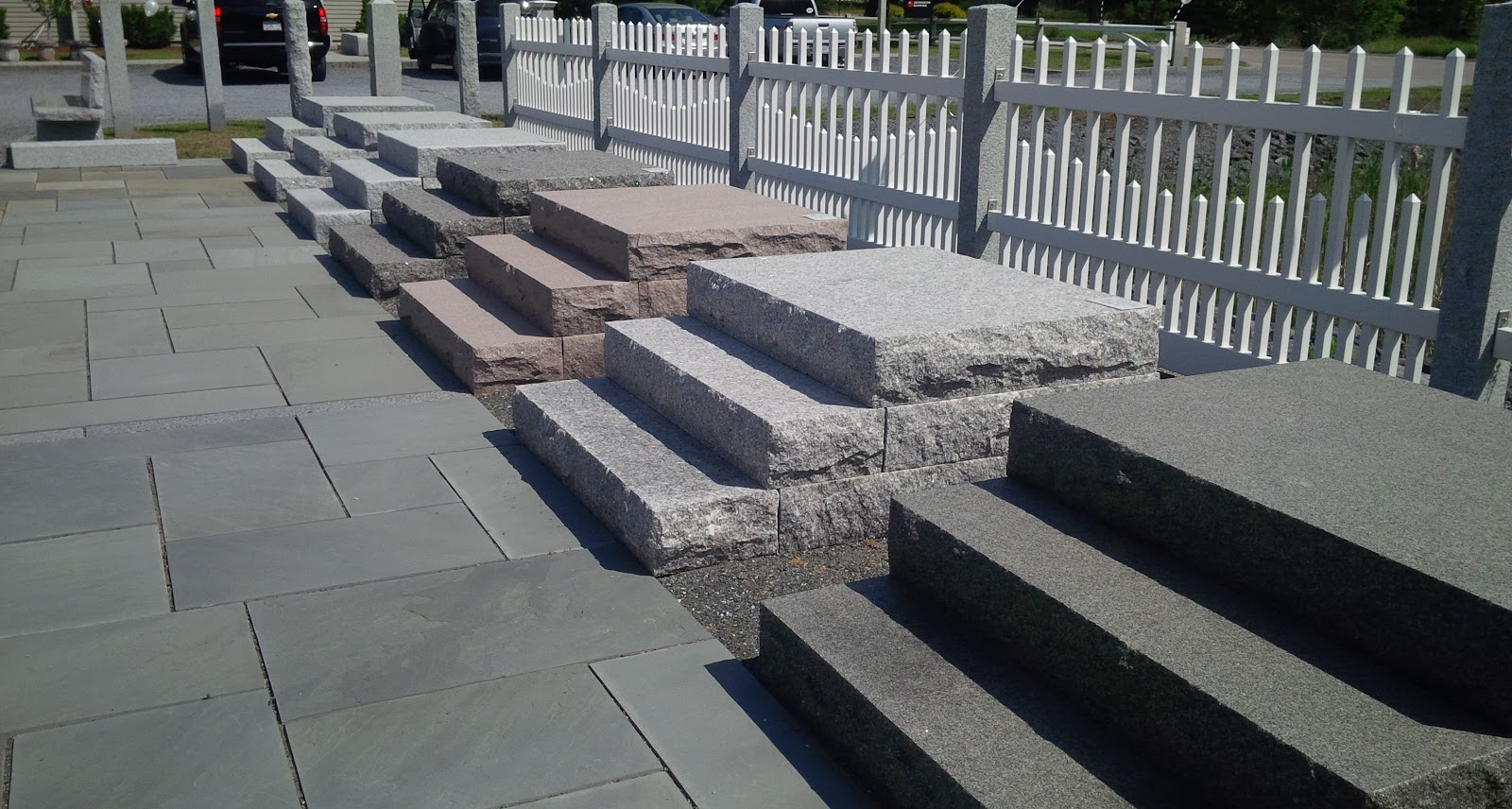 Granite steps at the Swenson Granite Works Medway store's outdoor display