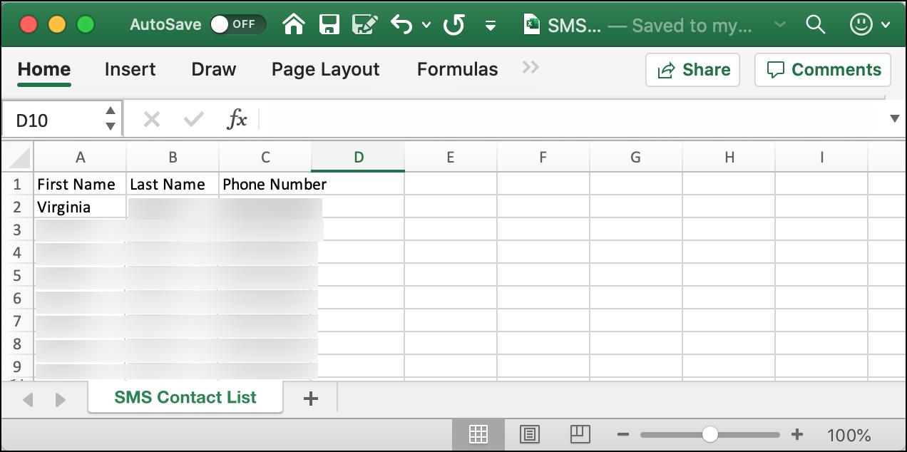 prepare the sms list csv file