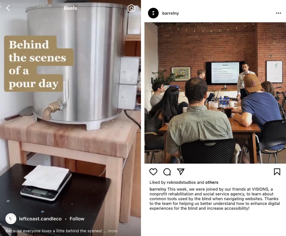 Ujęcia zza kulis na Instagramie - zrzuty ekranu