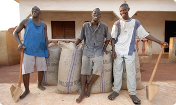 Farmers with their cocoa