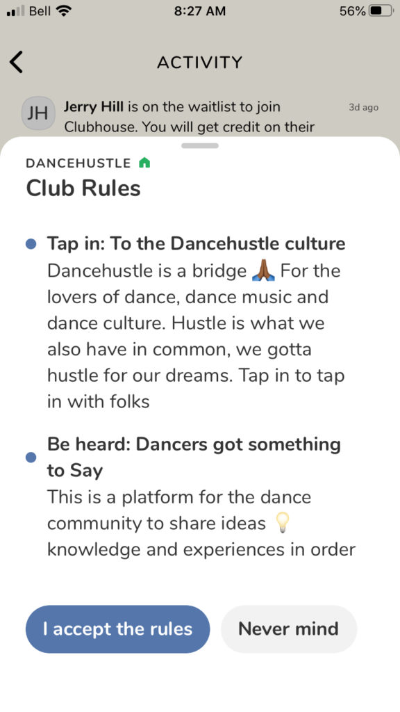 A screen shot of the rules for a Club on Clubhouse.