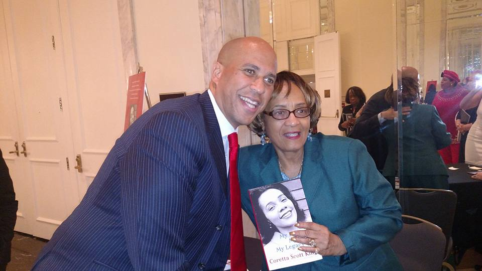 Senator Corey Booker and His Copy of Coretta Scott King: My Life, My Love, My Legacy
