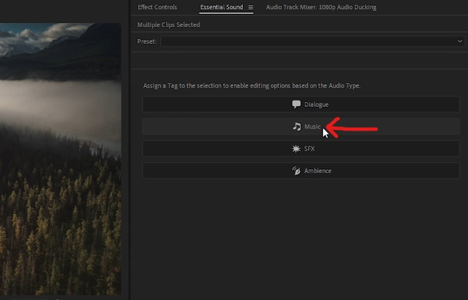 Premiere Pro - Select 'Music' Option within 'Essential Sounds' panel