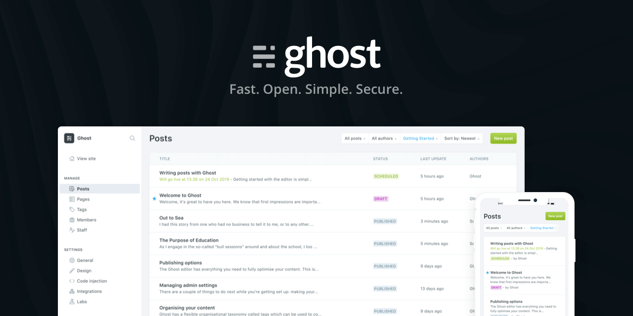 Ghost - wordpress alternative