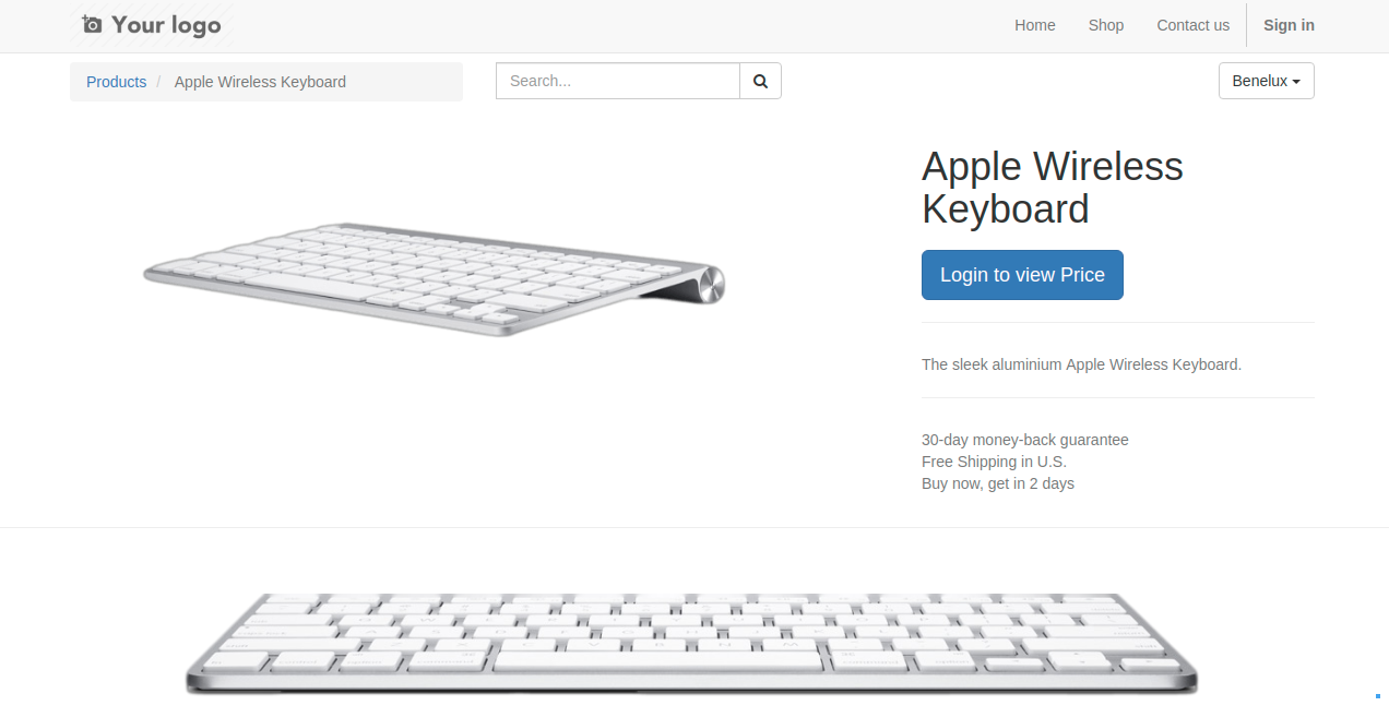 Product front end showing login to view price of product.