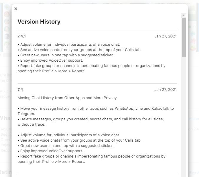 История версий Telegram
