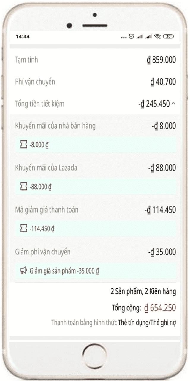 Hệ thống của Lazada sẽ áp dụng mã giảm giá Lazada sưu tầm khi đơn hàng của bạn đủ điều kiện