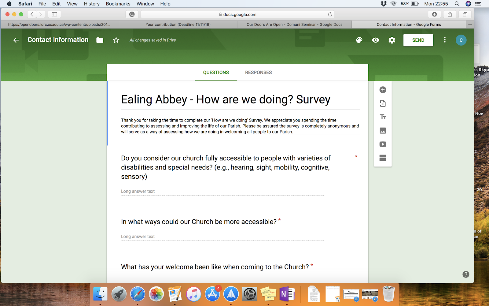 Screenshot of the online survey. Ealing Abbey - How are we doing? Survey.  Question 1: Do you consider our church fully accessible to people with varieties of disabilities and special needs?  Question 2: In what ways could our Church be more accessible? Question 3: What has your welcome been like when coming to the Church?