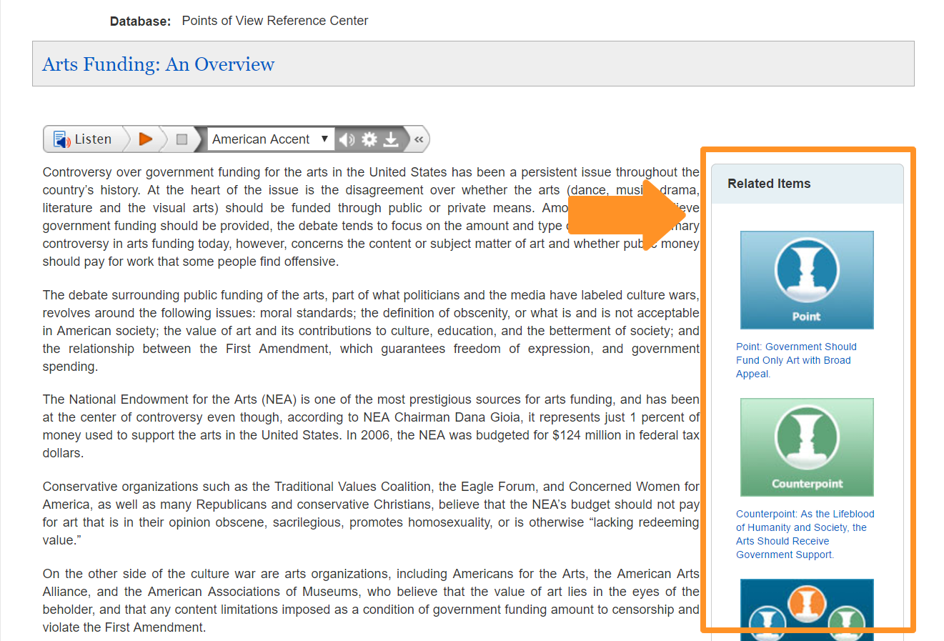 This image shows that the related items area is on the right hand side of the page.