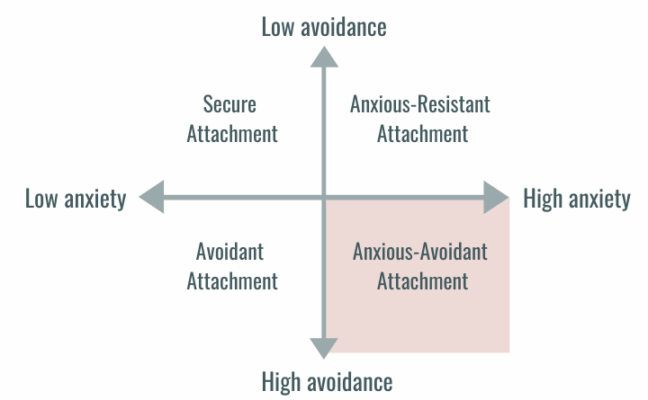 Attachment styles on a line graph with low avoidance to high avoidance on y-axis and low anxiety to high anxiety on x-axis. Anxious-Avoidant Attachment is the high avoidance, high anxiety and bottom right quadrant