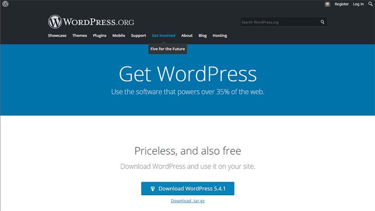 página de download do wordpress.org