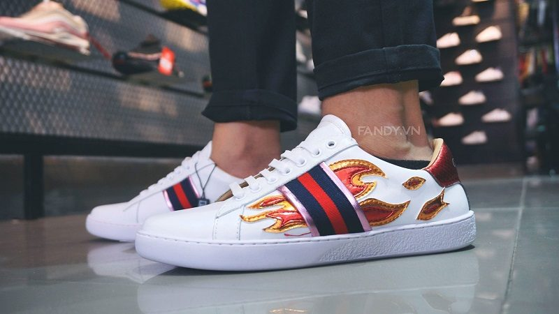 Giày Gucci Ace Sneakers Flames White