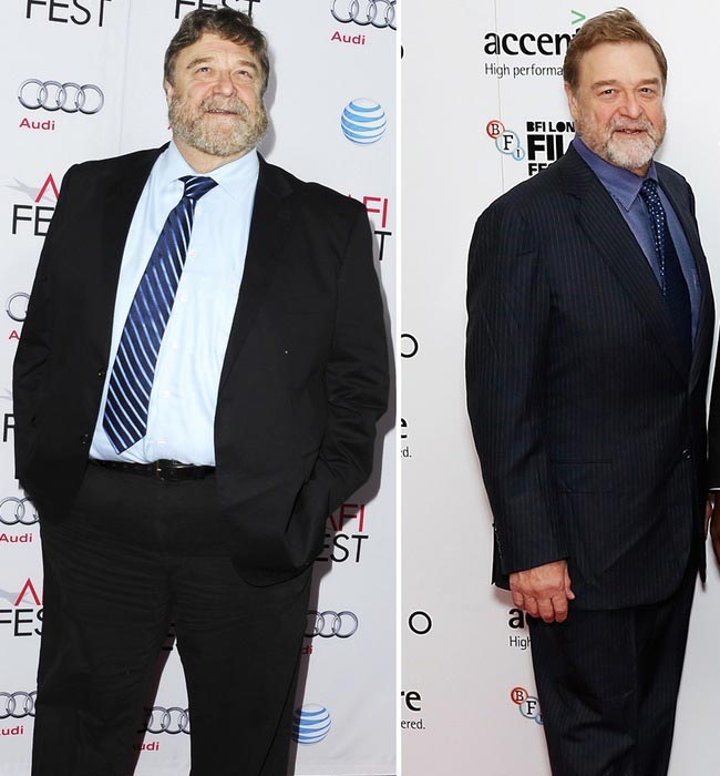 A before and after photo showing John Goodman's weight loss.