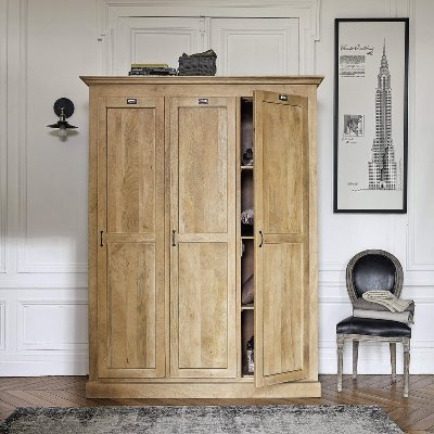 Aprodz Mango Wood 3 Door Wardrobe