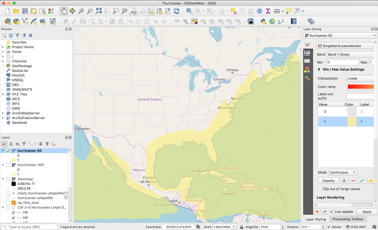 More QGIS – Hurricane maps (lines to points and vector