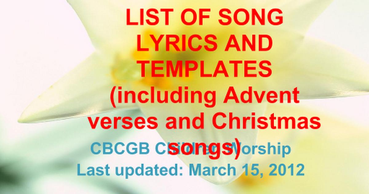 List of songs for CW.pptx - Google Slides