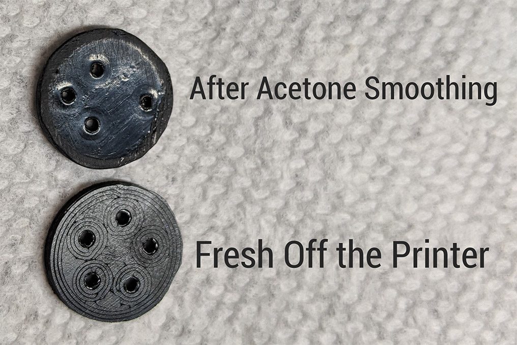 Before and after of acetone vapor smoothing for 3D printed buttons