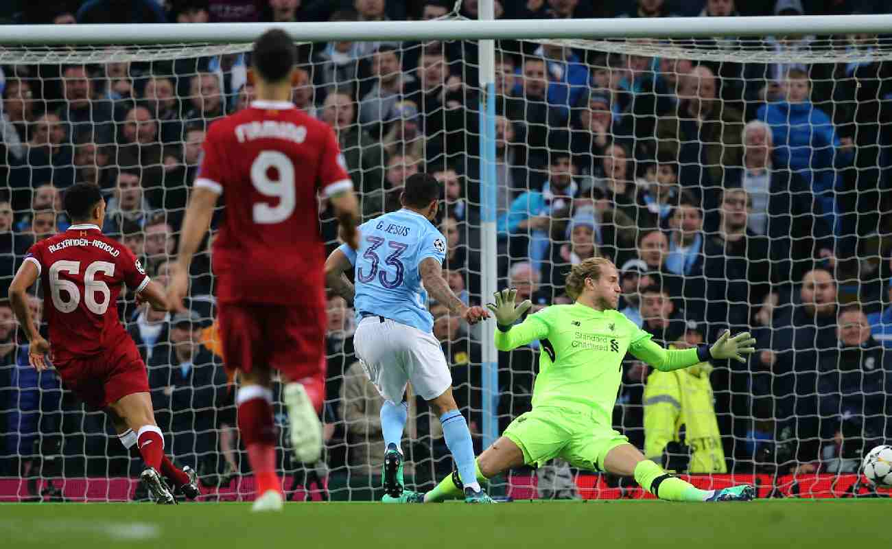 Gabriel Jesus of Manchester City scores against Liverpool - Photo by Mitchell Gunn/Getty Images